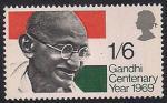 Великобритания 1969 год. Международный год памяти Махатма Ганди. 1 марка.