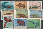 Вымершая Фауна, Польша 1966 год, 9 марок. наклейки.  (Н