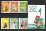 Виды спорта. Олимпиада. Атланта 1996. Камбоджа 1996 год. 6 марок + блок
