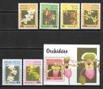 Орхидеи. Лаос. 1997 год. 6 марок + блок