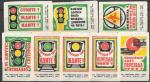Набор спичечных этикеток. Правила движения. Светофор. 1975 год. 8 шт.